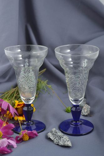 Handmade stylish set of glasses interesting painted ware home decor 2 pieces - MADEheart.com