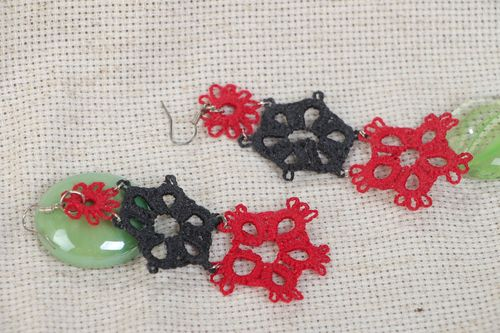 Handmade long tatting woven earrings with red and black flowers - MADEheart.com