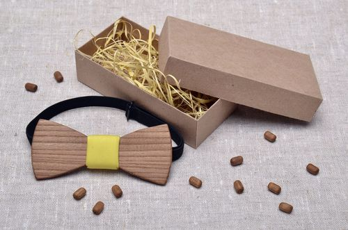 Wooden bow tie with yellow center - MADEheart.com