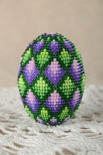 Beaded decor element handmade decorative egg stylish accessory for home - MADEheart.com