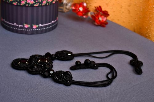 Handmade soutache necklace designer jewelry beautiful black accessories - MADEheart.com