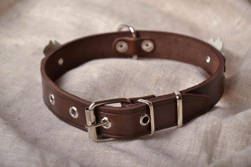 Leather dog collar with flower - MADEheart.com