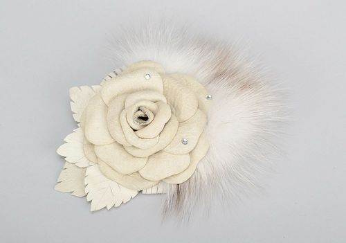 Brooch made from natural leather and fur in the form of a flower - MADEheart.com
