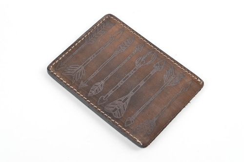 Handmade card case leather goods credit card holder leather wallet unique gifts - MADEheart.com