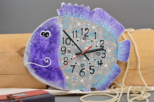 Handmade clock decoupage technique plywood accessory blue fish wall clock - MADEheart.com