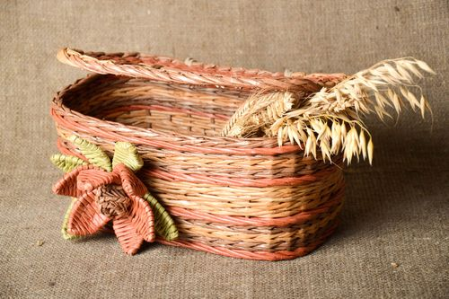 Stylish handmade woven bread basket cute unusual home accessories lovely decor - MADEheart.com