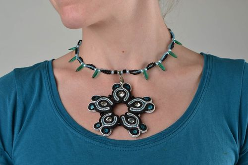 Handmade soutache floral pendant necklace with seed beads and rhinestones - MADEheart.com