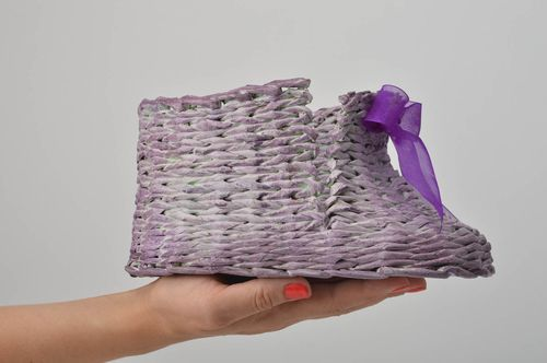 Handmade woven basket paper decorative basket unusual interior decor ideas - MADEheart.com