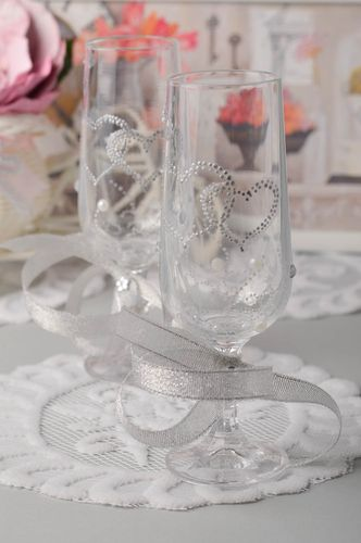 Handmade glasses wedding glasses for newlyweds wedding decor beautiful glasses - MADEheart.com