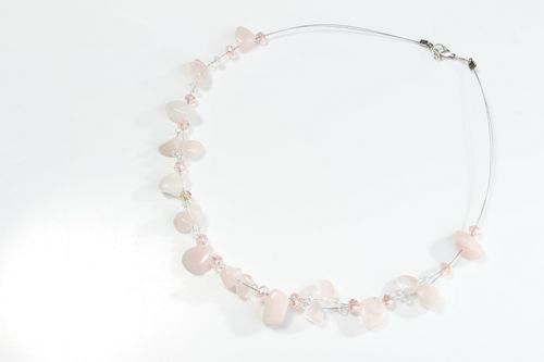 Choker necklace with crystal and pink quartz - MADEheart.com