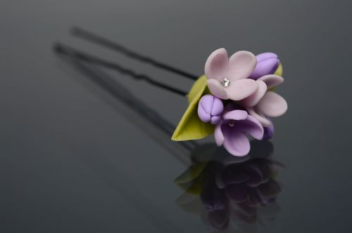 Cold porcelain hairpin Lilac - MADEheart.com