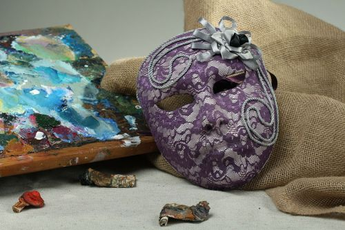 Papier mache carnival mask Lady in purple - MADEheart.com