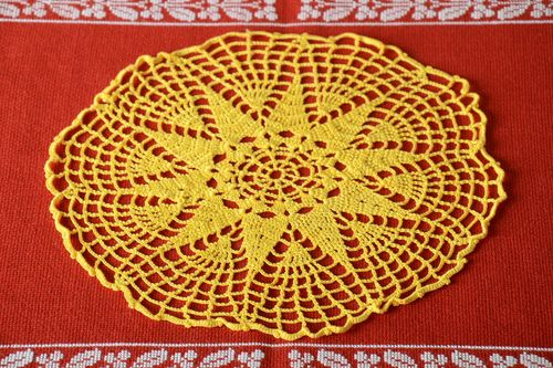 Handmade openwork napkin crocheted table napkin kitchen interior ideas - MADEheart.com