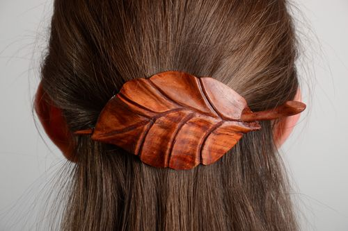 Jewelry and hair accessories Handmade carved wooden hair clip in the shape of leaf coated with eco varnish - MADEheart.com