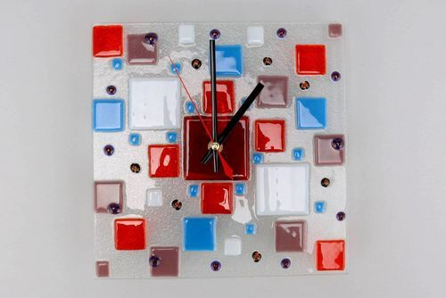 Clocks made of fusing glass Kaleidoscope - MADEheart.com