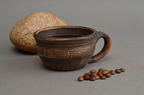 Handmade clay cup brown small 80 ml ceramic mug decorative kitchen pottery - MADEheart.com