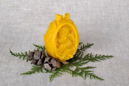 Candle made of beeswax Egg with Angel - MADEheart.com