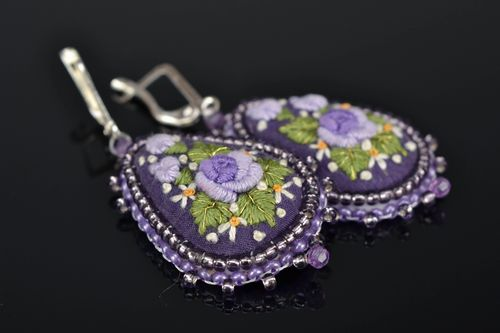 Drop earrings with embroidery - MADEheart.com