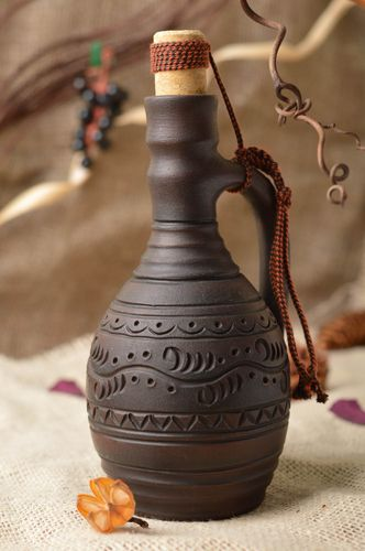 Handmade dark brown ceramic pitcher for cold drinks for 200 ml kilned with milk - MADEheart.com