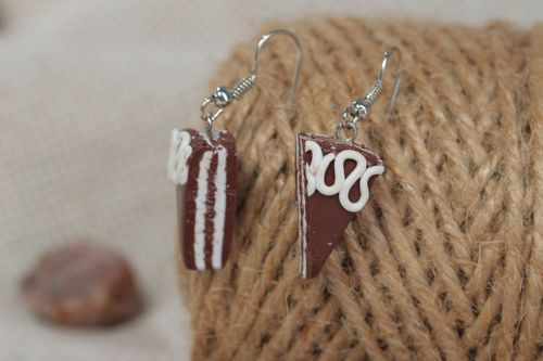 Unusual handmade earrings accessories made of clay cute stylish jewelry - MADEheart.com