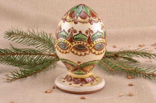 Western Ukrainian ceramic egg with holder - MADEheart.com