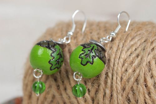 Wooden handmade earrings stylish round jewelry unusual green accessories - MADEheart.com