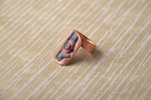 Handmade copper ring with enamel - MADEheart.com