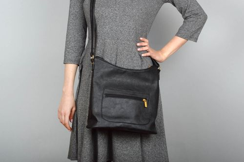 Handmade leatherette shoulder bag black spacious bag gift for wife fashion bag  - MADEheart.com