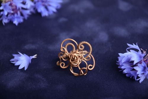 Handmade designer wire wrap copper jewelry ring with beads for women - MADEheart.com