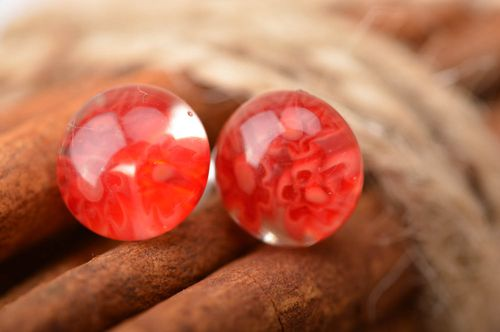 Beautiful red handmade designer millefiori glass earrings with silver fittings - MADEheart.com