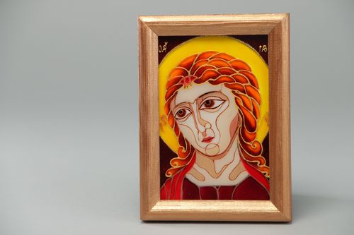 Handmade Orthodox home icon of archangel Gabriel stained glass painting technique - MADEheart.com