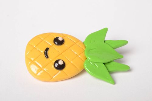 Polymer clay brooch handmade jewelry women brooch badges pineapple brooch  - MADEheart.com