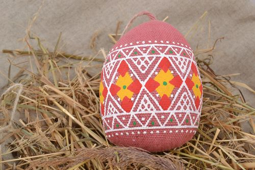 Handmade small decorative wall hanging Easter egg sewn of fabric with aroma - MADEheart.com