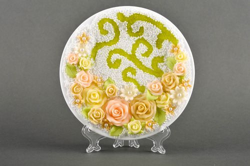 Handmade designer festive plate cute wedding ware decorative use only - MADEheart.com