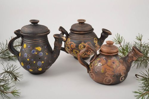 Handmade ceramic teapot 3 pieces pottery works home ceramics kitchen supplies - MADEheart.com