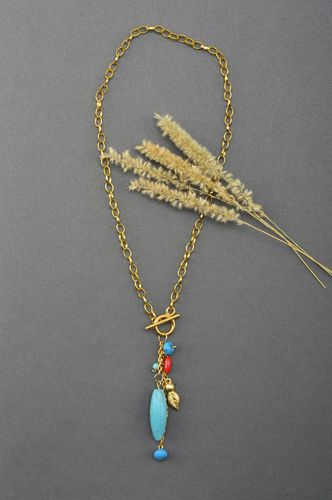 Handmade beaded necklace gemstone bead necklace design neck accessories - MADEheart.com