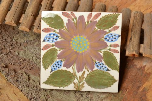 Painted square ceramic handmade tile for kitchen or fireplace decorative panel - MADEheart.com