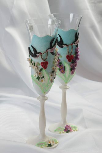 Handmade wedding glasses 2 unusual designer glasses cute kitchenware 190 ml  - MADEheart.com