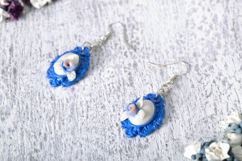 Polymer clay earrings of blue color - MADEheart.com