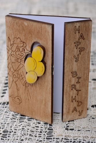 Plywood greeting card Happy Birthday - MADEheart.com