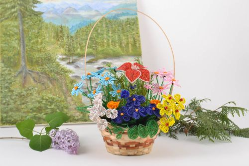 Handmade decorative woven basket with bright colorful volume beaded flowers  - MADEheart.com