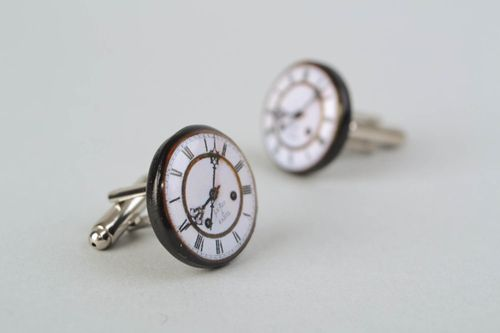 Polymer clay cufflinks in the shape of clocks - MADEheart.com
