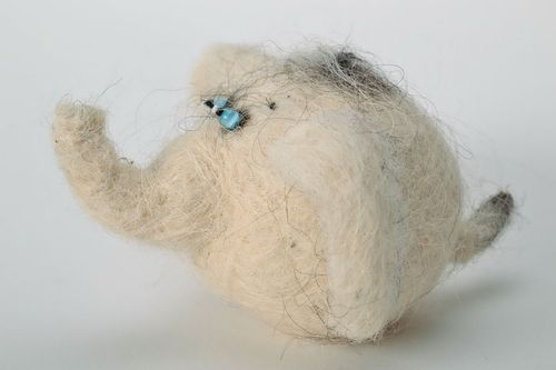 Woolen toy in the technique of felting Elephant - MADEheart.com