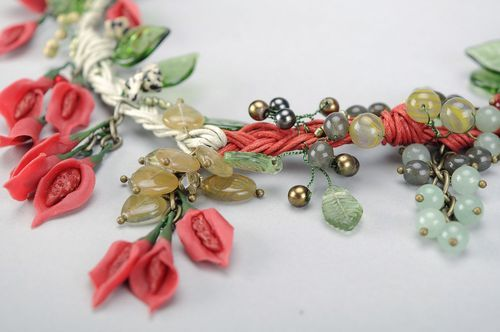 Jewelry set with natural stones and Czech glass - MADEheart.com