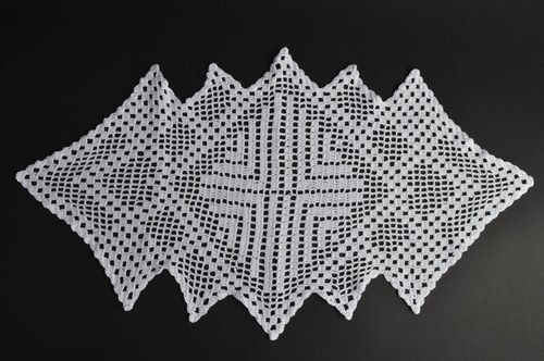 Exclusive handmade delicate white doily crocheted of cotton thread - MADEheart.com