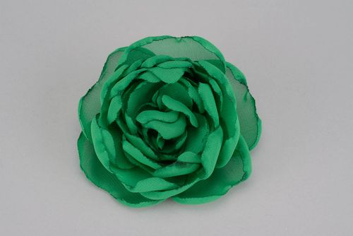 Brooch-hair pin made of chiffon Green flower - MADEheart.com