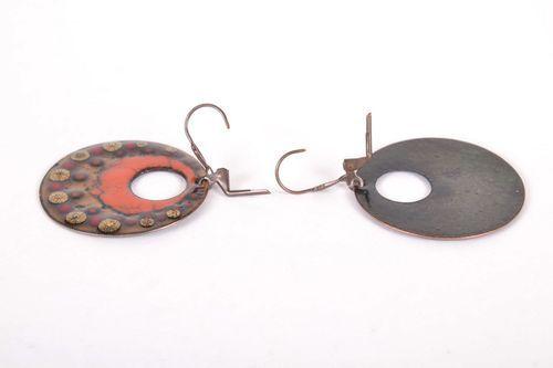 Large copper earrings   - MADEheart.com