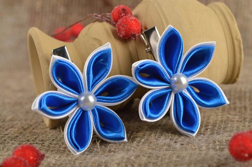 Beautiful handmade flower barrettes 2 pieces hair clip accessories for girls - MADEheart.com