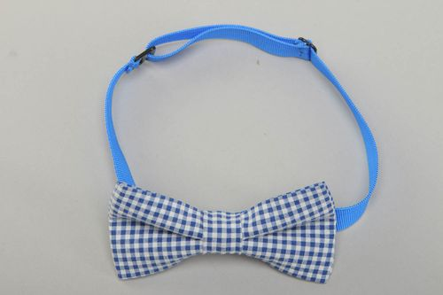 Checkered cotton fabric bow tie - MADEheart.com