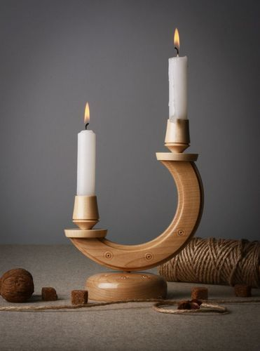 Wooden candlestick in the shape of half-moon - MADEheart.com